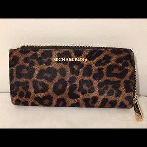 Michael Kors calf hair/leather zip wallet